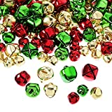 Pangda 288 Pieces Christmas Jingle Bells Colored Small Craft Bells Bulk Loose Beads for Craft Kits and Christmas Supplies (3 Sizes and Colors)