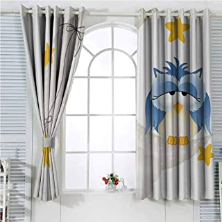 hengshu Kids Light Blocking Curtains for Living Room Cute Owl Dozing on Crescent Moon with Stars Good Sleep Baby Print Bedroom Curtains Decor W62 x L72 Inch Light Blue Pearl Earth Yellow