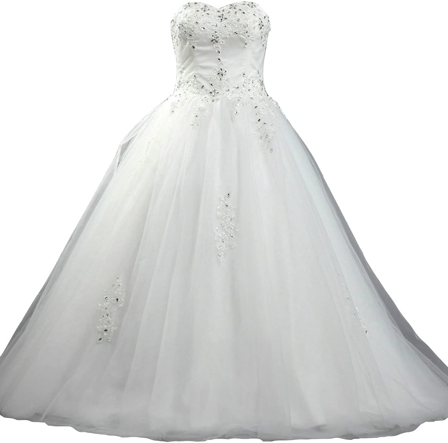 ANTS Women's A Line Sweetheart Bridal Dress with Beads