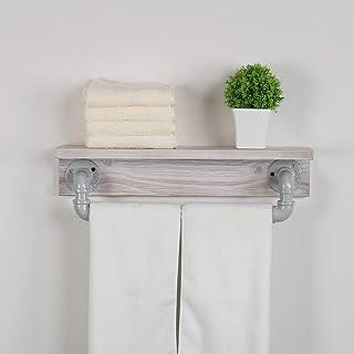 MBQQ 工業用パイプ棚 素朴な壁棚 タオルバー付き 19.7インチ 農家用タオルラック 浴室用 フローティング棚 壁取り付け ホームインテリア 木製棚 レトロホワイト