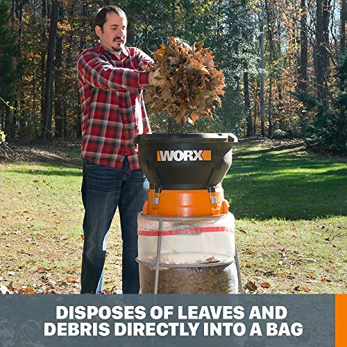 WORX WG430 13 Amp Foldable Bladeless Electric Leaf Mulcher, Red