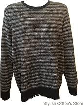 Marc Anthony Men's LS Luxe Henley Slim Fit Cotton/Cashmere/Merino Wool Soft Sweater, Black, XXL