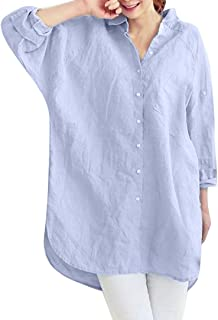 Clearance Sale Women Casual Plus Size Button Shirt - Women's Fashion Solid Pocket Loose Tops Blouse