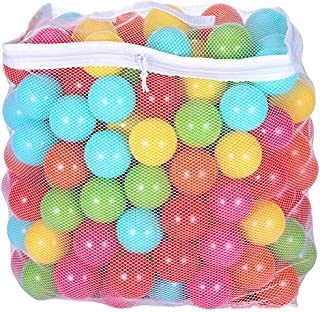 BalanceFrom 2.5-Inch Phthalate Free BPA Free Non-Toxic Crush Proof Play Balls Pit Balls- 6 Bright Colors in Reusable and Durable Storage Mesh Bag with Zipper