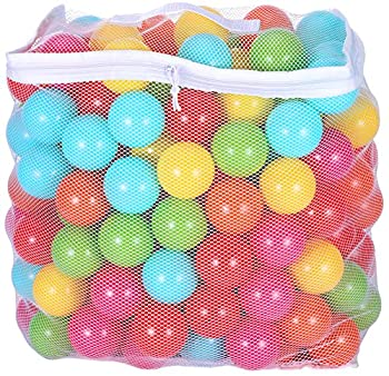 BalanceFrom 2.3-Inch Phthalate Free BPA Free Non-Toxic Crush Proof Play Balls Pit Balls- 6 Bright Colors in Reusable and Durable Storage Mesh Bag with Zipper 200-Count