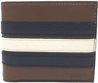 COACH Compact ID Sport Calf Bifold varsity stripe Wallet in Brown F24649