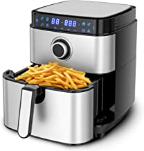 8-in-1 Air Fryer, MOOSOO Electric Air Fryer Oven 1500W, 4.7 Quart Stainless Steel Air Fryers Oven, Digital LCD Screen with...