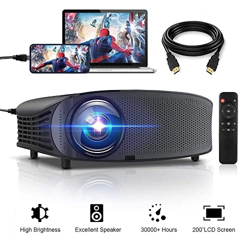"""HD Projector, GBTIGER 4000 lumens LED Video Projector, Full HD 1080P Support, 200"""" Display, Compatible with Fire TV Stick PS4 HDMI USB VGA AV with HDMI Cable"""