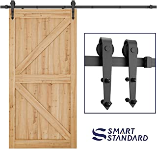SmartStandard 8ft Heavy Duty Sliding Barn Door Hardware Kit - Super Smoothly and Quietly - Simple and Easy to install - Includes Step-By-Step Installation Instruction - Single Rail -Fit 48