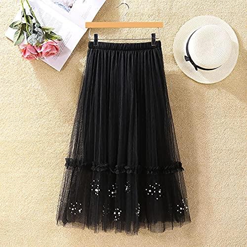 ShSnnwrl Vestido Sexy de Primavera para Mujer Faldas Plisadas de Malla Larga de Retazos de Cintura Alta con Cuentas de uñas Faldas de línea a para Mujer Kawaii Falda a Media Pierna sólida OneSiz