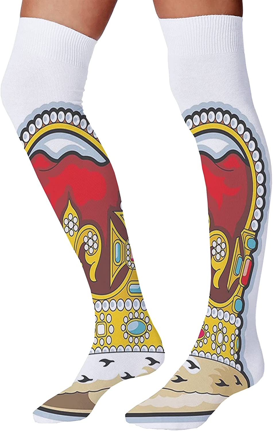 Men's and Women's Fun Socks,Mechanical Robots Pattern Scattered on a Plain Background Futuristic Concept