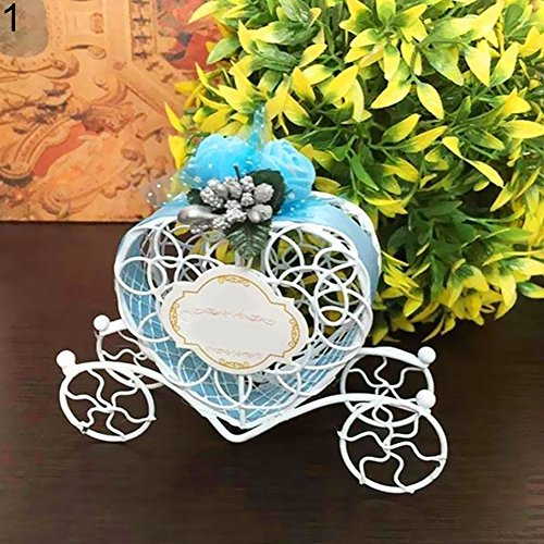 wsloftyGYd Heart Carriage Couch Sweets Chocolate Candy Box Wedding Party Favours Gift Box Romantic Pumpkin Wrought Iron Carriage Wedding Candy Box Creative Wedding Supplies Blue
