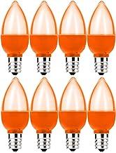 8 Pack c7 LED Orange Light Bulb 1W Night Light Bulb Mini LED Bulb Candelabra E12 Base Decor Orange Bulbs or Salt Lamp, Str...