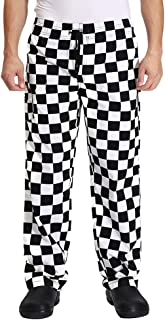 Nideen Men's Black and White Checkerboard Print Chef Pants with Elastic Waist Drawstring Baggy Chef Trousers Uniforms