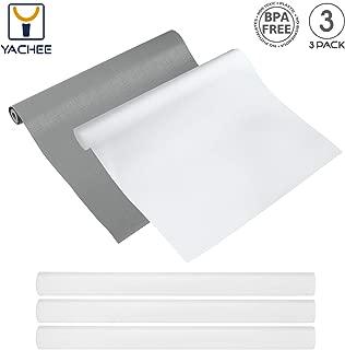 Yachee 3 Rolls EVA Cabinet Liner, Non-Slip Non-Adhesive Shelf Liners Kitchen Cabinets, Waterproof Cupboard Drawer Cushion Mats, 2019 New Design DIY Multipurpose Antifouling Pads, 18