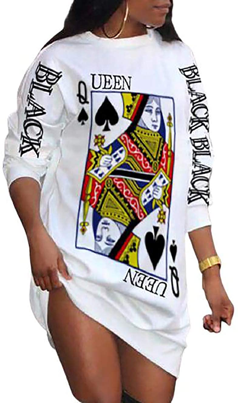 MISOMEE Women Long Sleeve Poker Letter Print Loose Casual Sweatshirt Dress Mini Dresses