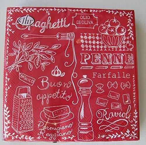 Ihr Serviette CUCINA PASTA red - Nudeln - Spaghetti, Ravioli...