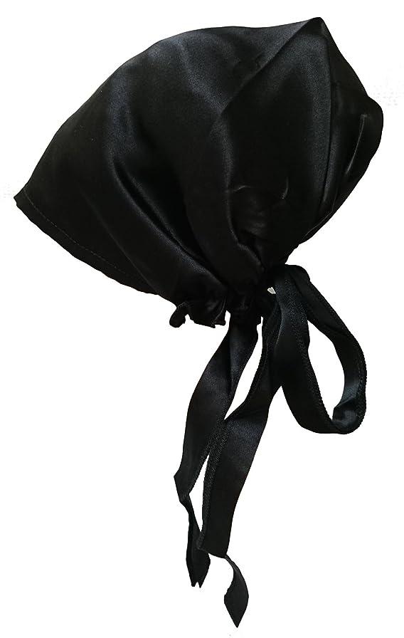熟す換気するリラックスシルク ナイトキャップ 絹 100% 紐付き つや髪 美髪 室内 就寝用 帽子 SS?Sサイズ キッズ?ジュニア お子様にも便利な小さめサイズ (ブラック)