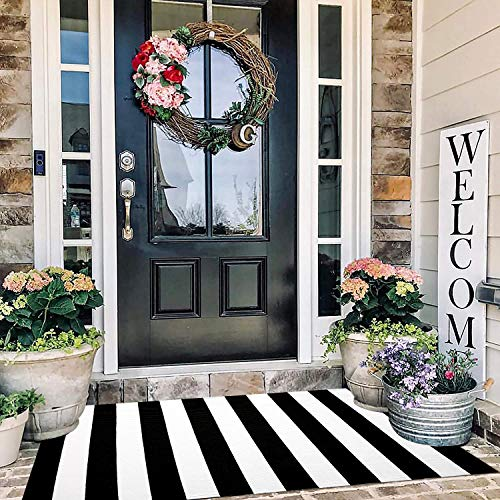 Cotton Hand-Woven Reversible Foldable Washable Outdoor Rug Stripe for Layered Door Mats Porch/Front Door (35.4''x59'', Black and White/Breton Stripe)