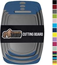 Gorilla Grip Original Oversized Cutting Board, 3 Piece, BPA Free, Juice Grooves, Larger Thicker Boards, Easy Grip Handle, Dishwasher Safe, Non Porous, X Large, Kitchen, Set of 3, Blue Gray