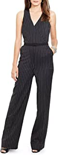 Ralph Lauren Lauren Faux Wrap Pinstripe Wool Jumpsuit