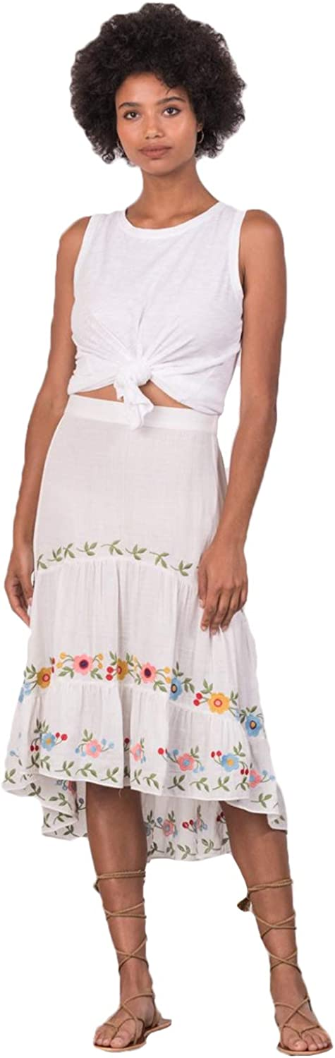 Margaret O'Leary Womens Embroidered Tiered Skirt White Extra Small, Small