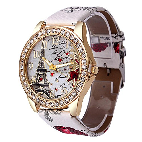 Yivise Mujeres Relojes de Pulsera creativos Maravillosos Regalos Torre patrón Pretty Dial Banda de Cuero de Cuarzo analógico Relojes(F)