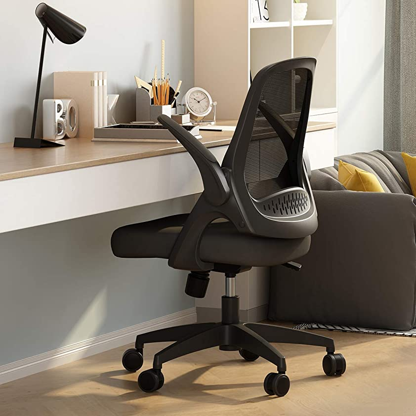 バラエティ集まる余分なHbada 椅子 オフィスチェア デスクチェア イス 跳ね上げ式アームレスト コンパクト 約120度ロッキング 360度回転 座面昇降 強化ナイロン樹脂ベース 「一年無償部品交換保証」 シリンダーカバーがない