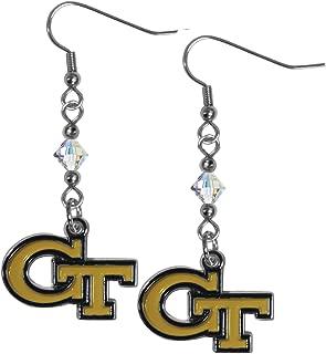 Siskiyou NCAA Georgia Tech Crystal Dangle Earrings, White