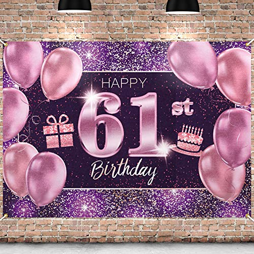PAKBOOM Happy 61st Birthday Banner Backdrop - 61 Birthday Party Decorations Supplies for Women - Pink Purple Gold 4 x 6ft