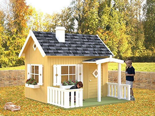 Kinderspielhaus Kalmia K4 inkl. Fußboden, naturbelassen - 16 mm Blockbohlenhaus, Grundfläche: 3,60 m², Satteldach