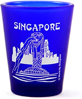 Singapore Merlion Fountain Cobalt Blue Frosted Shot Glass