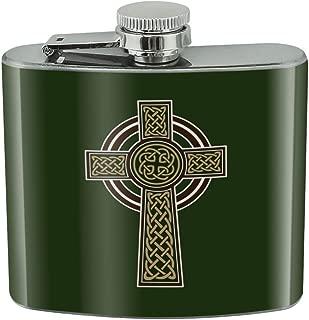 Celtic Christian Cross Irish Ireland Stainless Steel 5oz Hip Drink Kidney Flask