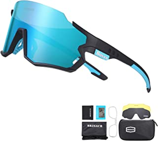 BRZSACR Polarized Cycling Sunglasses Polarized Sports Sunglasses with 3 Interchangeable Lenes for Men Women Cycling Running Driving Fishing Golf Baseball Glasses.