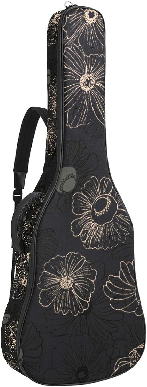 Funda para guitarra acústica acolchada gruesa, impermeable, doble correa ajustable para el hombro, para guitarra, pizarra, diseño de flores amarillas