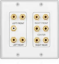 TNP Home Theater Wall Plate - 2-Gang 5.1 Surround Sound Audio Distribution Panel Premium Gold Plated Copper Banana Binding Post Coupler Plug for 5 Speaker, 1 RCA Jack for Subwoofer (White)