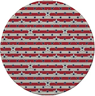 Non-Slip Rubber Round Mouse Pad,USA,Patriotic Pattern Love My Country Continent American Federal Freedom Image Decorative,Coconut Navy Blue Red,11.8