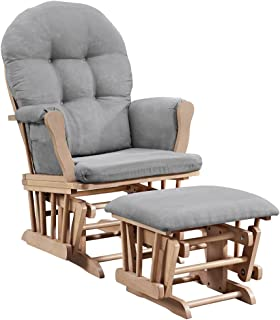 Angel Line Windsor Glider and Ottoman, Natural and Gray