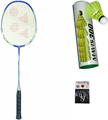 Yonex Nanoray 7000I Badminton Racquet (Pack of 1) & Mavis 300 Yellow Nylon Shuttle Cock (Pack of 6) with SPORTSHOUSE Wrist Band