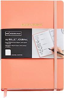 Miquelrius - Cuaderno bonito de notas, cubierta rígida de papel vinílico, tamaño A5 148 x 210 mm, 192 páginas punteadas Dots de 100 g/m², color melocotón