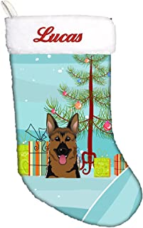 Caroline's Treasures BB1583CSEMB Christmas Tree and German Shepherd Personalized Christmas Stocking, Large, Multicolor