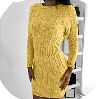Sweater Dress Women Long Sleeve Elegant Twist Solid Casual Tunic Mini Bodycon Knitted Autumn Winter Robe Pull