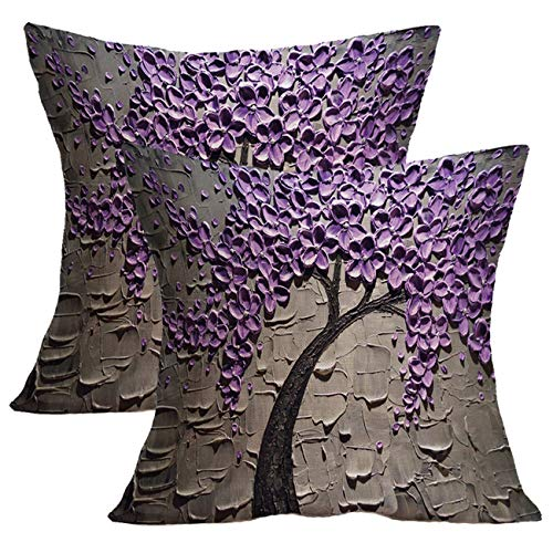 Treely Oil Painting Tree Throw Pillow Case Cotton Linen Decorative Cushion Cover Flowers for Sofa Bedroom Car 18 x 18 Inch,2 Pack(Style 01)