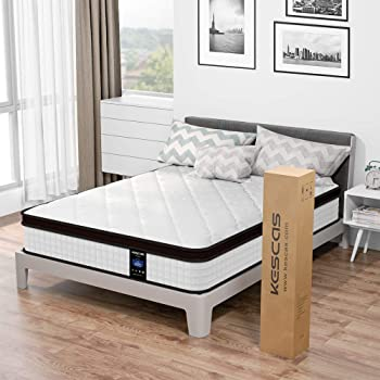 Kescas 10 inch Memory Foam and Innerspring Hybrid Mattress Queen Mattress Queen Pocket Spring Double Mattresses with CertiPUR-US Certified Foams Medium Firm Feel with 100 Night Home Trial