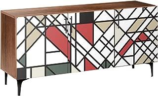 NyeKoncept 13005812 Organic Modernism Arc Sideboard44; Walnut & Black