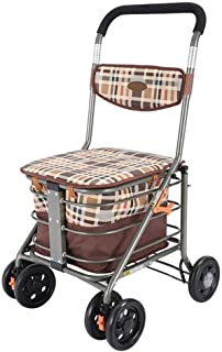 LQBDJPYS Portable Folding Shopping Trolley with 4 Swivel Wheels Large Capacity Adjustable Height Lightweight Shopping Lugg...