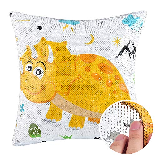 WERNNSAI Dinosaur Pillow Cover - 40 x 40cm Sequins Throw Pillow Cases Birthday Xmas Gift for Boys Triceratops Decorative Cushion Covers for Sofa Couch Bed Car(NO Pillow Inserts)