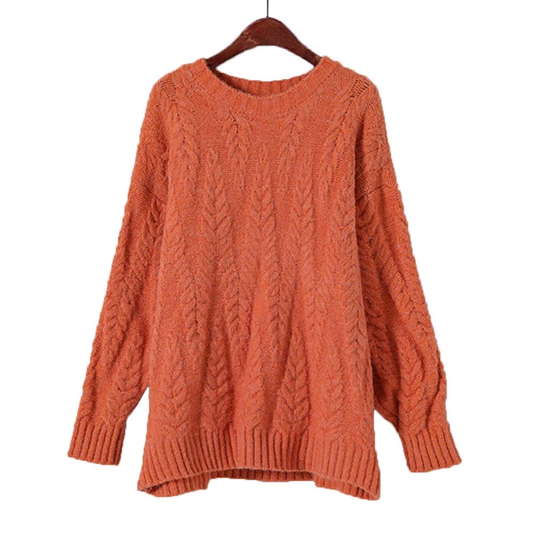 [美しいです] 秋冬 ファッション ニットセーター トップス 厚手 プールオーバー ラウンドネック セーター リブニット リブ編み 無地 セーター 通勤 通学