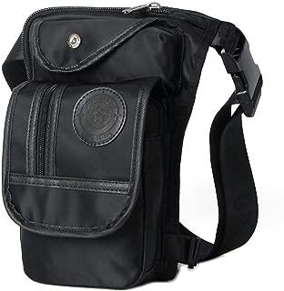 Canvas/Nylon Men Waist Pack Leg Drop Bags Motorcycle Crossbody Messenger Shoulder Belt Bum Male Hip Purse Pouch Thigh Fanny Bags,Black Waterproof