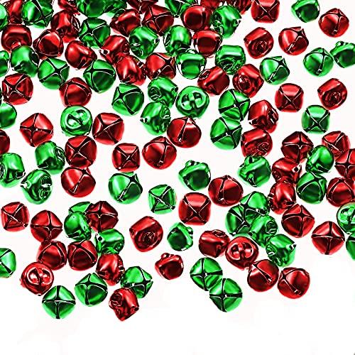 CAJHFIZHANGU 100 campane per artigianato con campanelli da 1,79 cm, colore rosso e verde per kit di Natale